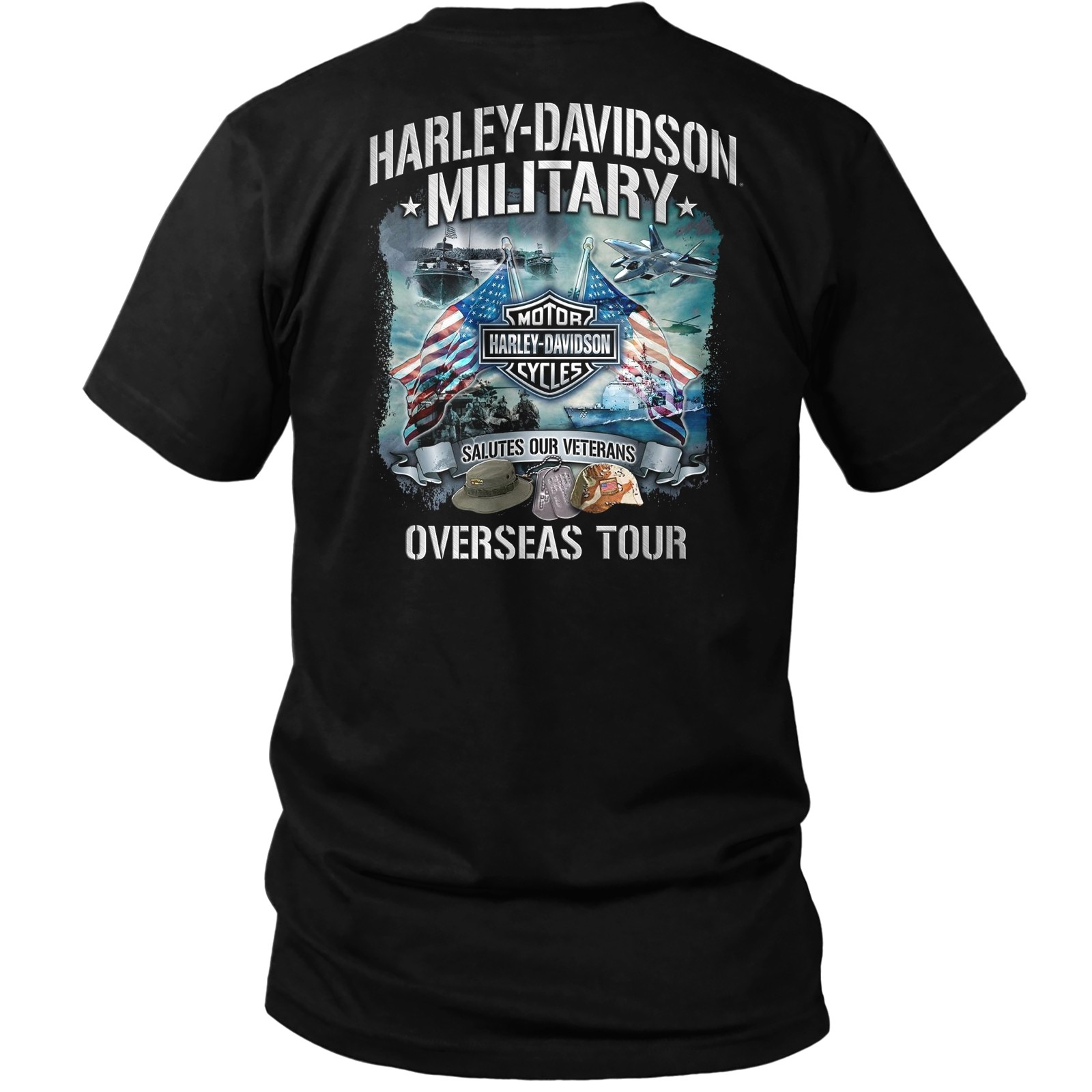 Harley-Davidson Military - Men's Bar & Shield Orange on Black T-Shirt - Overseas Tour | Salutes Our Veterans
