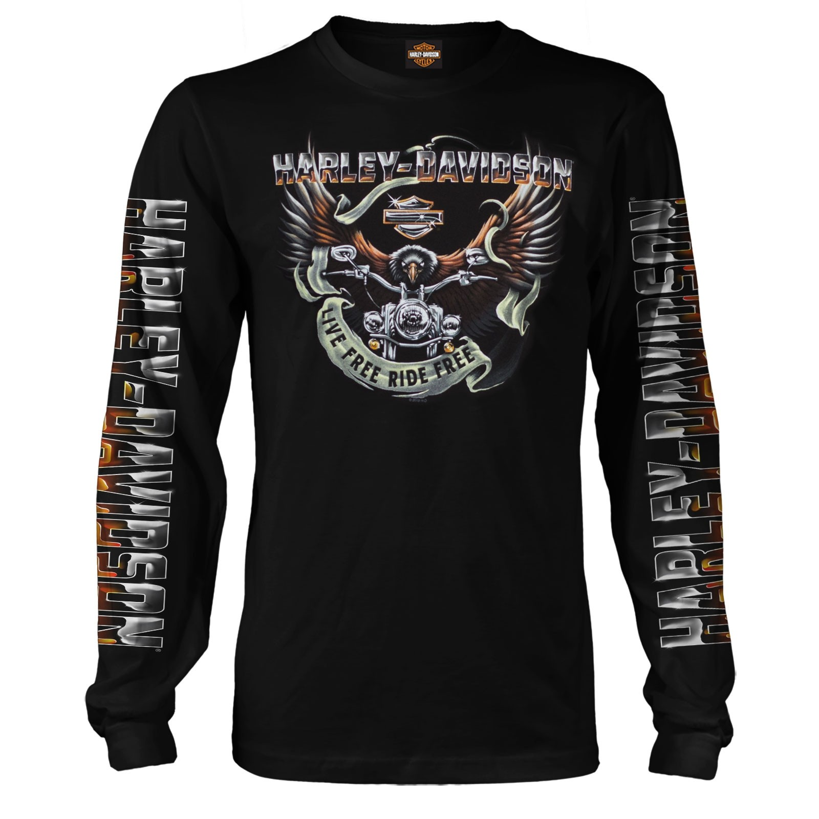 Men's Black Long-Sleeve Eagle Graphic T-Shirt - Kadena Air Base | Eagle Ride