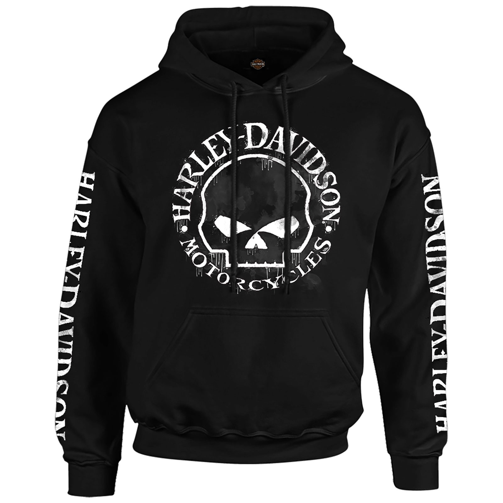 Men's Black Skull Graphic Hooded Pullover Sweatshirt - Handmade Willie | Overseas Tour