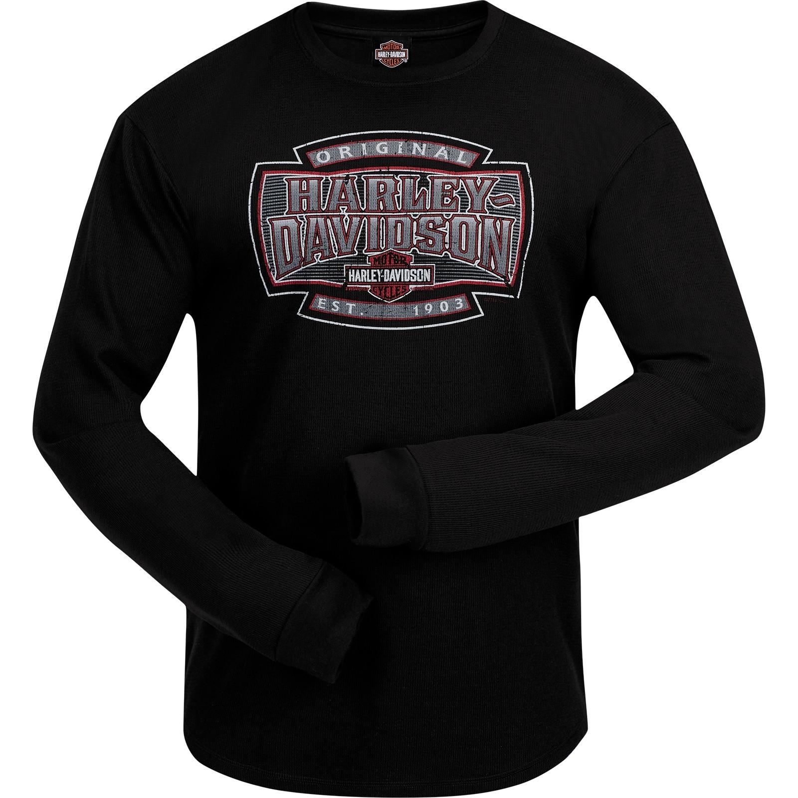 Harley-Davidson Men's Long Sleeve Thermal Shirt with Round Hem - Ramstein Air Base | H-D Shield