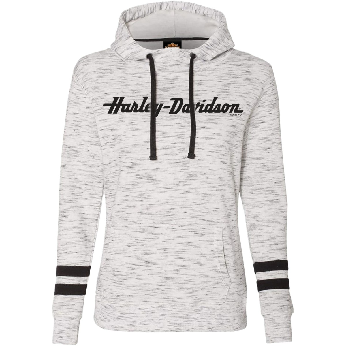 Women's Black & White Graphic Pullover Hooded Sweatshirt - Overseas Tour | H-D Stitch