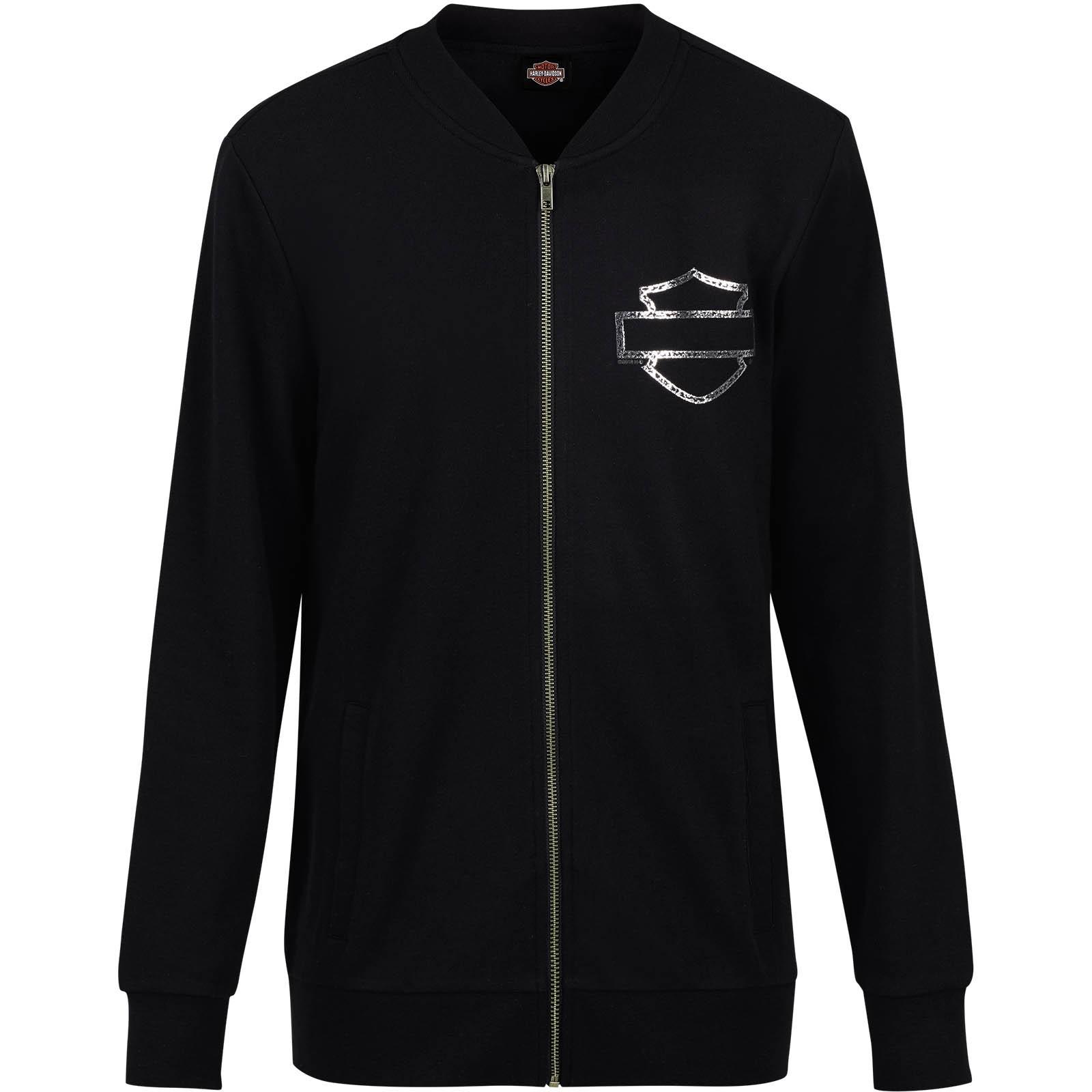 Harley-Davidson Women's French Terry Bomber Jacket - Overseas Tour   Iconic Logo