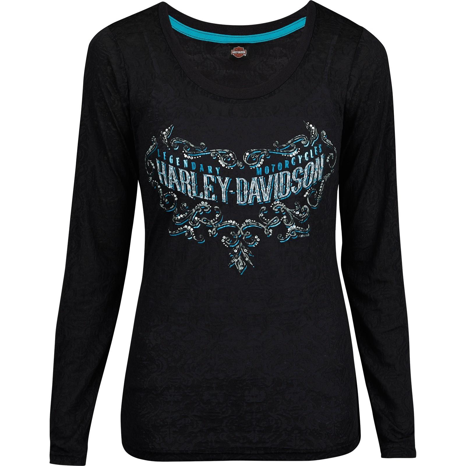 Harley-Davidson Military - Women's Black Long-Sleeve Burnout Graphic T-Shirt - USAG Yongsan | Legend Scroll