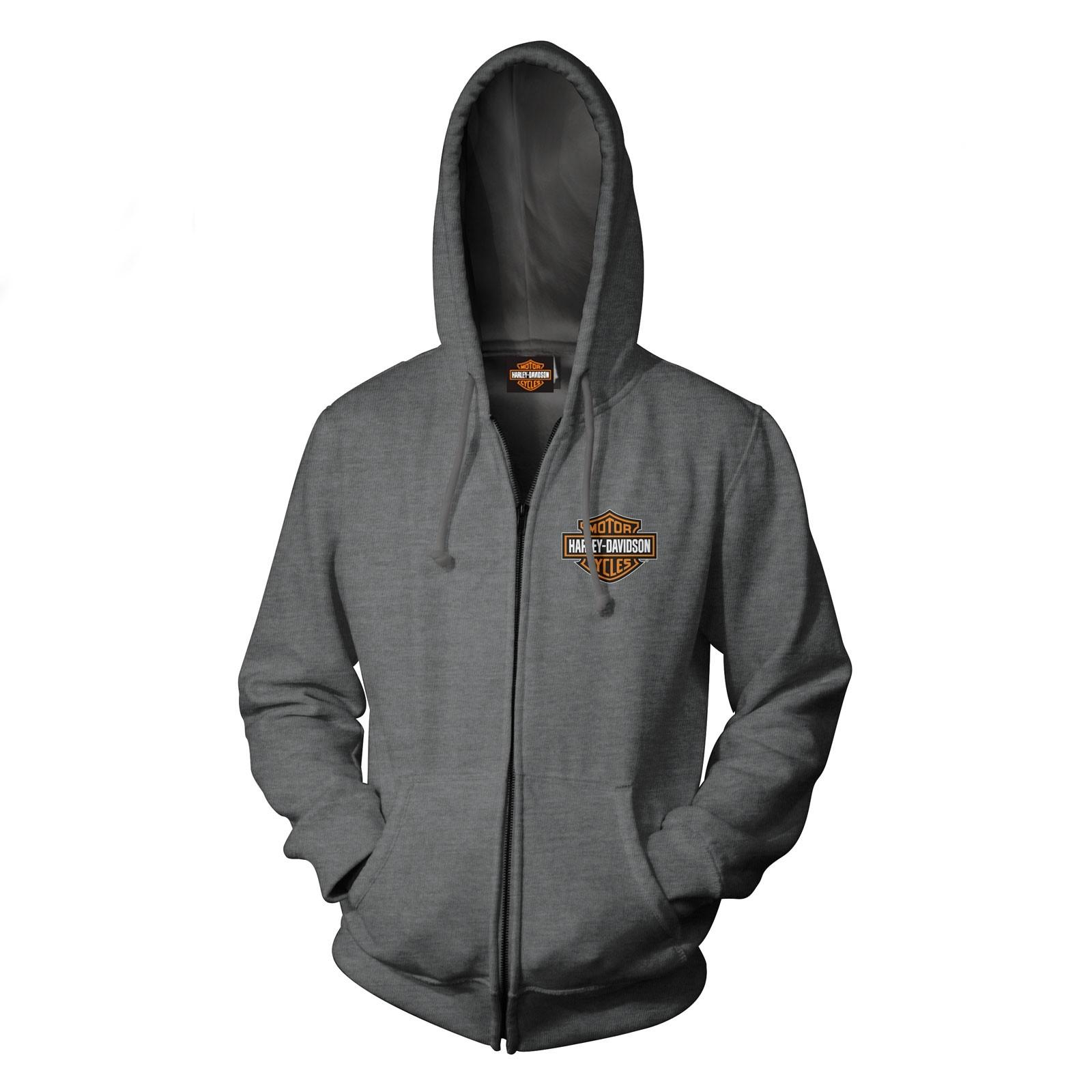 Men's Dark Heather Bar & Shield Graphic Zip Hoodie Sweatshirt - Overseas Tour | Military Skull Text