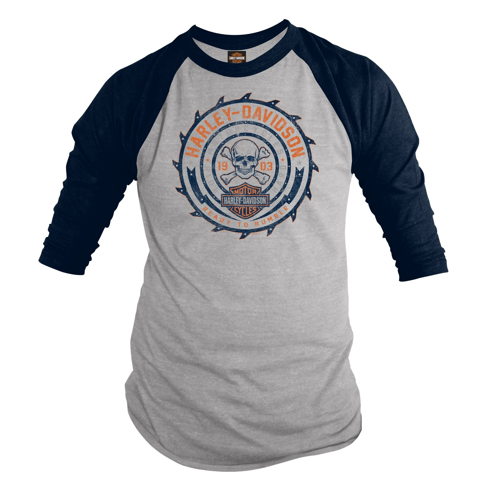 Harley-Davidson Men's 3/4 Sleeve Raglan Tee - NAS Sigonella | Ready To Rumble