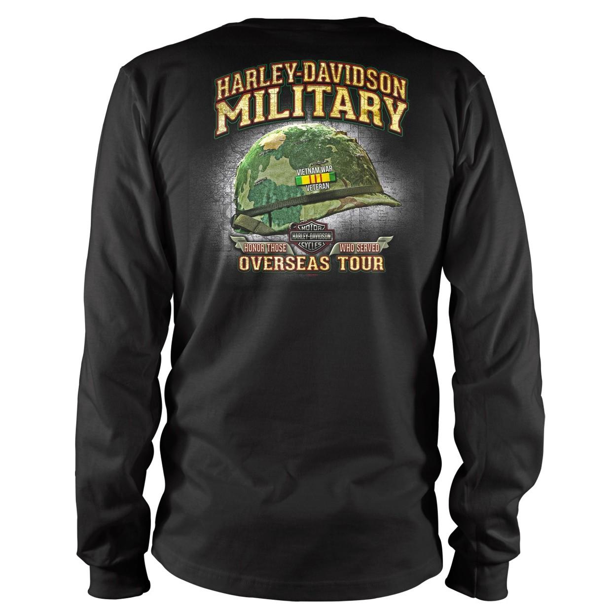 Harley-Davidson Military Bar & Shield Vietnam Veterans - Black Long-Sleeve T-shirt