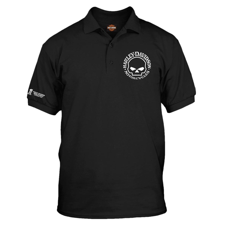 Harley-Davidson Military  - Men's Black Graphic 3-Button Polo Sport Shirt - Overseas Tour | Willie G