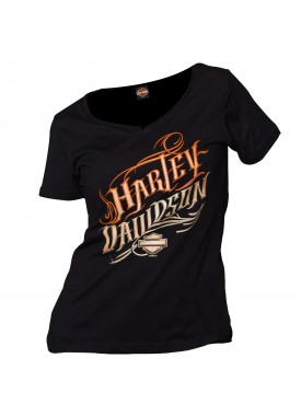 Harley-Davidson Military - Women's Black Graphic V-Neck T-Shirt - Baghdad, Iraq | Be Still