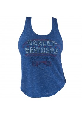 Harley-Davidson Military - Women's Royal Blue Graphic Racerback Tank - RAF Lakenheath | Vintage Text