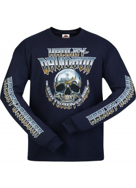 Harley-Davidson Men's Long Sleeve Skull Graphic T-Shirt - Camp Leatherneck | Chrome Dome