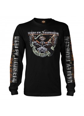 Harley-Davidson Men's Black Long-Sleeve Eagle Graphic T-Shirt - Kadena Air Base | Eagle Ride