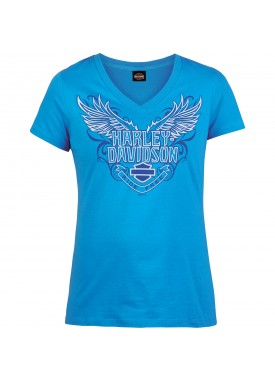 Harley-Davidson Military - Women's Turquoise V-Neck T-Shirt - Kadena Air Base | Emblemize