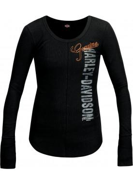 Women's Black Graphic Scoop Neck T-Shirt with Thumbholes - Al Udeid Air Base | Genuine Seam