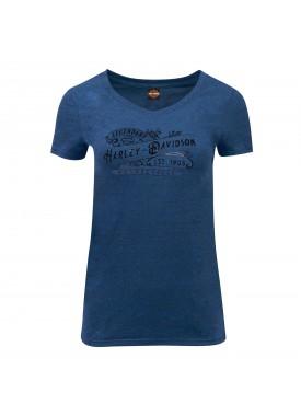 Women's Slim Fit Royal Blue V-Neck T-Shirt with Foil Graphics - Kandahar Air Base | Harvest