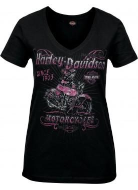 Harley-Davidson Military - Women's Skull Graphic V-Neck T-Shirt - Camp Leatherneck   Hitch