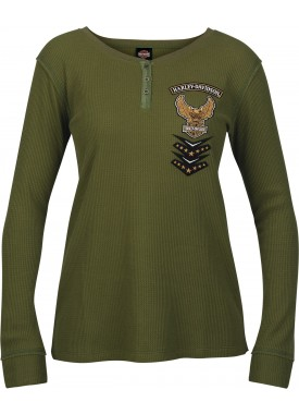 Harley-Davidson Military - Women's Long-Sleeve Eagle Graphic Henley Thermal Shirt - USAG Wiesbaden   Mended Placket