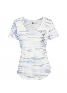 Harley-Davidson Military - Women's Camoflage Blue V-Neck Graphic T-Shirt - USAG Grafenwohr | Original Snow - MADE IN USA