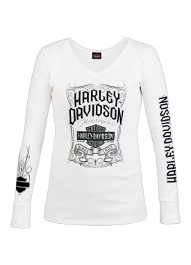 Harley-Davidson Military - Women's White Long-Sleeve V-Neck Graphic T-Shirt - NAS Sigonella | Pennant
