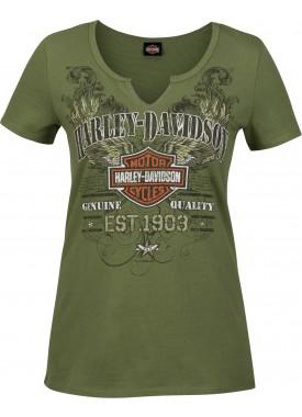 Harley-Davidson Military - Women's Olive Green V-Neck Notched Graphic T-Shirt - RAF Mildenhall   Scrappy