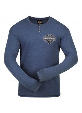Harley-Davidson Men's Henley Thermal Long-Sleeve - Baghdad | Stressed Logo