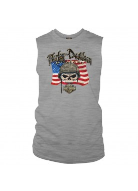 Harley-Davidson Men's Graphic Muscle T-Shirt | Overseas Tour - Willie G Flag