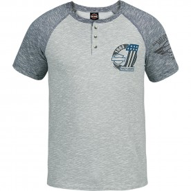 Men's Grey/Navy 3-Button Henley Raglan Shirt - Kandahar Air Base | 1 Side