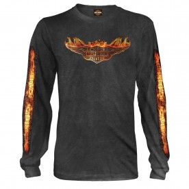 Harley-Davidson Men's Long-Sleeve Graphic Tee - Bagram Air Base | Burning