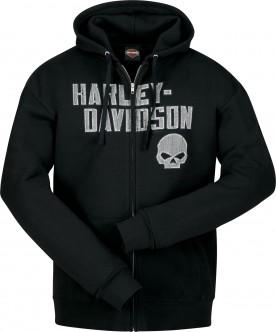 Harley-Davidson Military - Men's Black Hooded Zippered Skull Graphic Sweatshirt - Overseas Tour | Cracked G