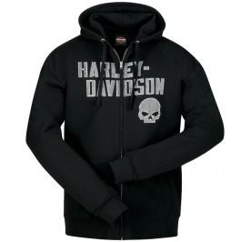 Men's Black Hooded Zippered Skull Graphic Sweatshirt - Overseas Tour | Cracked G