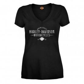 Fused Kandahar AB Harley-Davidson Military Womens Scoop Neck Foil Graphic T-Shirt