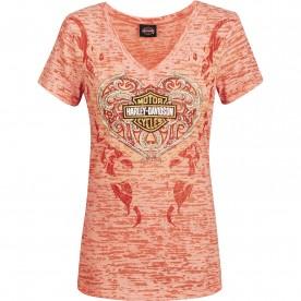 Harley-Davidson Women's Burnout V-Neck Short Sleeve T-Shirt - Al Udeid Air Base | Filigree