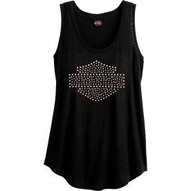 Women's Black Slub Tank Top with Studs | Camp Lemonnier - Fresh Shine