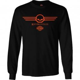 Men's Black Skull Graphic Long-Sleeve T-Shirt - RAF Lakenheath | G Wings