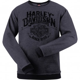 Harley-Davidson Men's Crew Sweatshirt - Overseas Tour | Grunge Banner