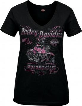 Harley-Davidson Military - Women's Skull Graphic V-Neck T-Shirt - Camp Leatherneck | Hitch