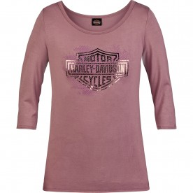 Harley-Davidson Military - Women's Mauve 3/4 Sleeve Scoop Neck T-Shirt - RAF Mildenhall | Imagine