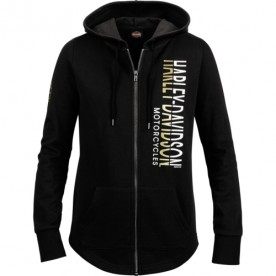 Harley-Davidson Military - Women's Black Zippered Graphic Ribbed Hoodie - Ramstein Air Base | Jointed