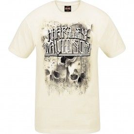 Harley-Davidson Military - Men's Vintage White Short-Sleeve Graphic T-Shirt - Ramstein Air Base | Lifetime Pride - MADE IN USA
