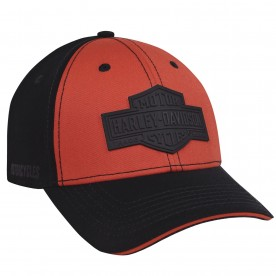 Harley-Davidson Military - Men's Black & Orange Stretch Fit Ballcap - Overseas Tour | Long B&S