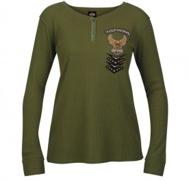 Women's Long-Sleeve Eagle Graphic Henley Thermal Shirt - USAG Wiesbaden | Mended Placket