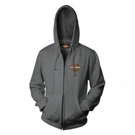 Harley-Davidson Military - Men's Bar & Shield Graphic Zip Hoodie Sweatshirt - Overseas Tour | Military Skull Text
