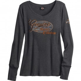 Harley-Davidson Military - Women's Long-Sleeve V-Neck T-Shirt with Thumbhole Cuffs - Camp Foster | Oval Classic