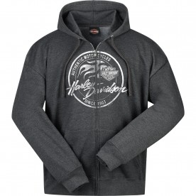 Harley-Davidson Military - Men's Charcoal Heather Hooded Zippered Sweatshirt - Overseas Tour | Paint Logo