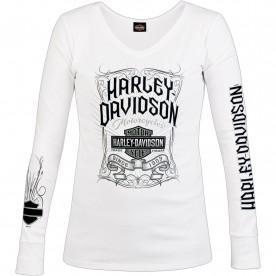 Harley-Davidson Military - Women's White Long-Sleeve V-Neck Graphic T-Shirt - NAS Sigonella | Pennant