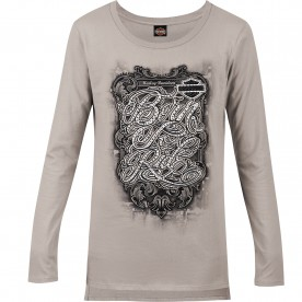 Harley-Davidson Military - Women's Grey Long-Sleeve Graphic T-Shirt - Overseas Tour | Ride Away