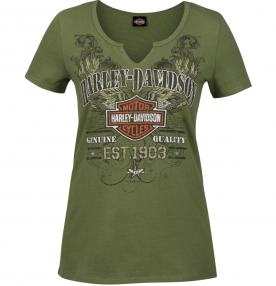Women's Olive Green V-Neck Notched Graphic T-Shirt - RAF Mildenhall | Scrappy