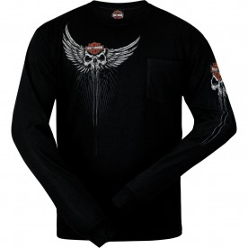 Harley-Davidson Men's Long-Sleeve Pocket T-Shirt - USAG Grafenwohr | Skull Drop