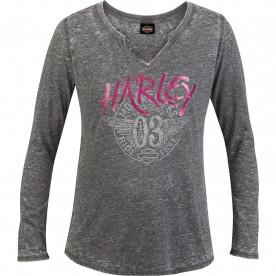 Harley-Davidson Women's Long-Sleeve Burnout Wash V-Notch T-Shirt - Camp Humphreys | Stamped