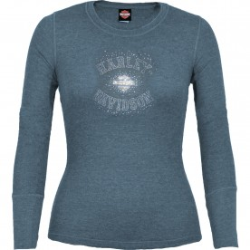 Harley-Davidson Women's Long-Sleeve Thermal Top with Bling - Osan Air Base | Starstruck