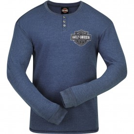 Harley-Davidson Men's Henley Thermal Long-Sleeve - Baghdad | Stressed Logo
